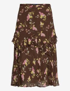 Floral Ruffle-Trim Skirt - spódnice do kolan i midi - 1130 heritage flo