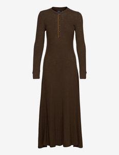 Cotton Henley Long-Sleeve Dress - kotelomekot - dark beech