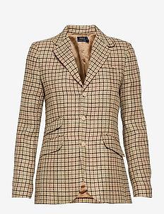 Suede-Trim Houndstooth Blazer - business blazer - brown houndstooth