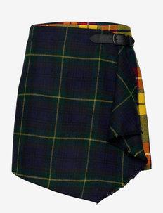 Plaid Pleated Wrap Skirt - kietaisuhameet - tartan/goron plai