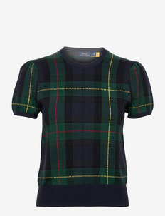 Plaid Short-Sleeve Sweater - strikkede toppe - plaid multi