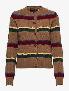 Striped Cable-Knit Cardigan - cardigans - camel multi strip