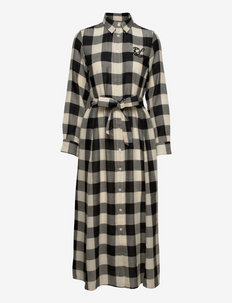 Beaded-Logo Plaid Wool Shirtdress - blousejurken - 407 black/cream