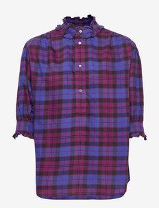 Ruffle-Trim Plaid Cotton-Blend Blouse - blouses met lange mouwen - 1147 red/purple