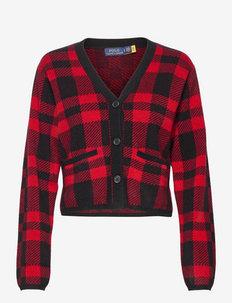 Plaid Merino Wool Cardigan - cardigans - red/black