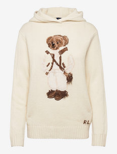 Shearling Polo Bear Hooded Sweater - pulls à capuche - cream multi