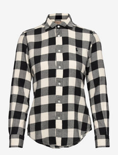 Classic Fit Plaid Cotton Shirt - pitkähihaiset paidat - 812 cream/black b