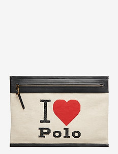 Graphic Large Pouch - clutches - ecru/black