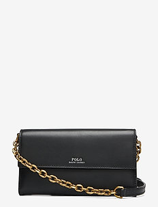 Leather Small Chain Wallet - axelremsväskor - black