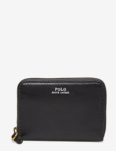 Leather Small Zip Wallet - BLACK