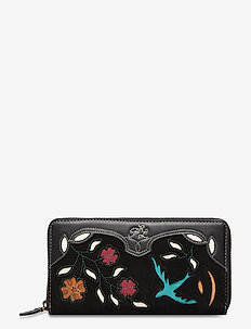 INLAY LEATHER-LONG ZIP WLT-WLT-SMA - wallets - black multi