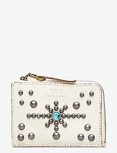 STUDDED DS LTHR-ZIP CC-CCS-SMA - card holders - cream