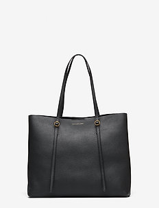 Leather Large Lennox Tote - BLACK