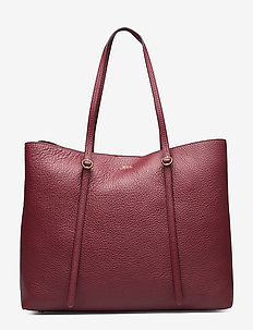 Leather Large Lennox Tote - BORDEAUX
