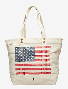 Distressed Flag Canvas Tote - casual shoppers - ecru