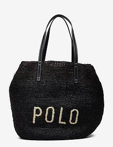 Polo Raffia Large Tote Bag - BLACK