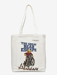 CANVAS ESCAPE BEAR-BOOK TOTE-TTE-ME - ECRU