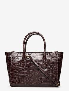 CROC EMBOSSED LTHR-SLOANE-STL-LRG - handbags - chocolate