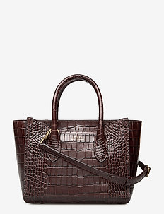 CROC EMBOSSED LTHR-MINI SLOANE-STL- - handbags - chocolate