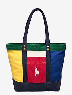 Canvas Color-Blocked Tote - casual shoppers - multi