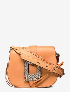 Leather-Inlay Small Crossbody - shoulder bags - natural