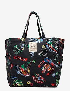 Canvas Medium Graphic Tote - casual shoppers - black multi