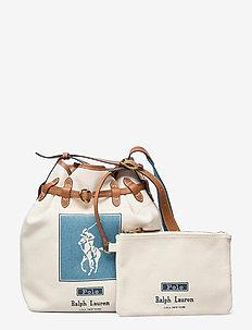 Canvas Large Bellport Bucket Bag - bucket bags - ecru/blue