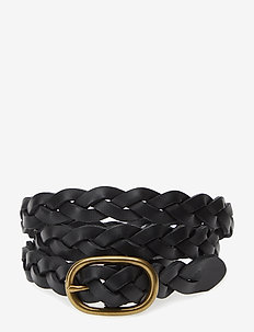 Braided Leather Skinny Belt - belts - black