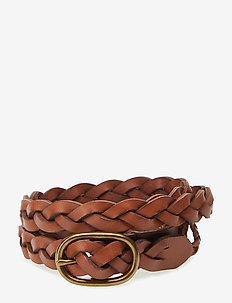 Braided Leather Skinny Belt - TAN