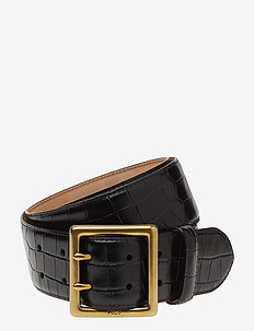 CROC EMBOSSED LTHR-CENTRBR BELT-CSL - BLACK