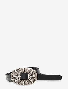 Skinny Leather Buckle Belt - belts - black