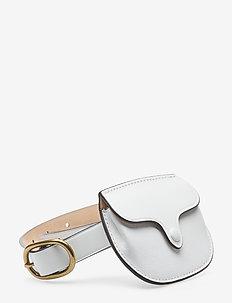 Leather Skinny Belt Bag - belt bags - white