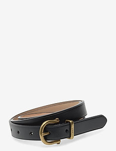 Leather Stirrup Skinny Belt - belts - black