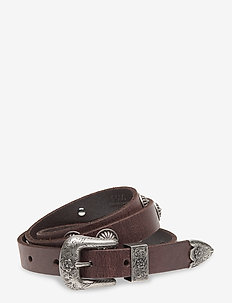 STUDDED DISTRS LTHR-3 PIECE WSTR-CS - belts - dark brown