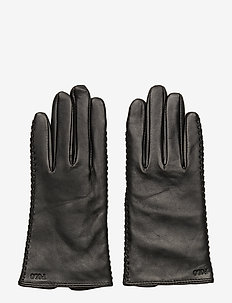 Stitched Sheepskin Gloves - BLACK