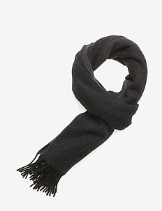 Fringe Wool Scarf - scarves - black/charcoal
