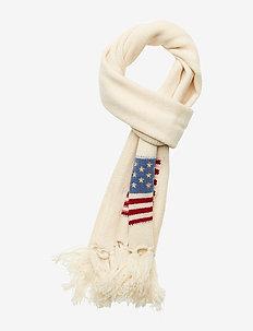 Flag Fringe Wool Scarf - CREAM