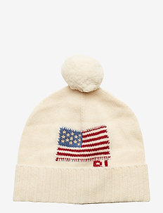 Flag Wool Pom-Pom Hat - beanies - cream