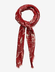 Fringe Cashmere-Blend Bandanna - AMERICANA RED