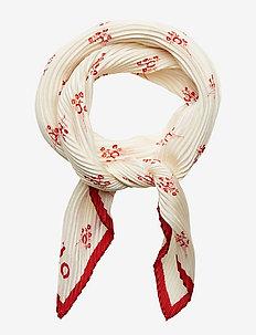 Pleated Silk Scarf - RED HORSESHOE FLO