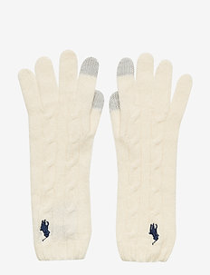 WOOL/CASHMERE-CABLE-GLV - gloves - cream