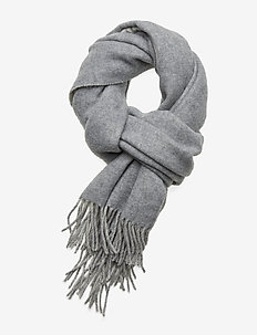 Wool-Blend Oversize Scarf - scarves - cream/fawn grey