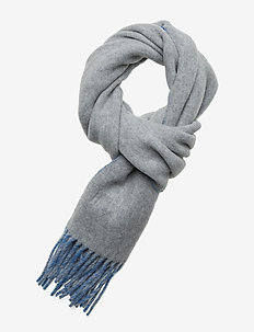 WOOL/NYLON-SIGN SCARF-OBS - FAWN GREY/SKY BLU