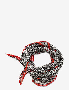 SILK BLEND-PLEATED FLOR SQUARE - scarves - black/red