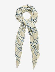Plaid Cotton-Blend Scarf - scarves - green plaid