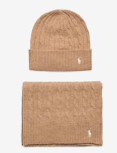 WOOL BLEND-CABLEGIFTSET-HAT - bonnets - camel