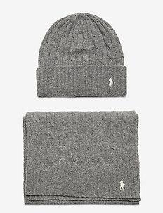 WOOL BLEND-CABLEGIFTSET-HAT - mutsen - fawn grey hthr