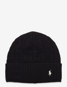 Cable-Knit Wool-Cashmere Hat - huer - polo black