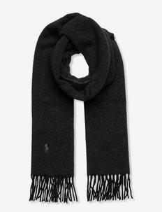 Fringe Cashmere-Wool Scarf - szaliki zimowe - black/charcoal