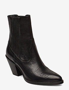Lowrey Leather Cowboy Boot - ankelboots med klack - black